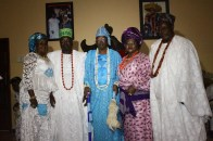 Oba and Olori Shotobi with Omoba and Olori Mutiat Arogunre and Chief Bamgbelu at Aayngbure palace after the installation