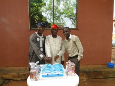 Celebarnt with the representtaives of the Laegue of Journalist, Ikorodu