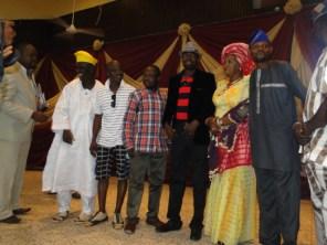Friends celebrating with Otunba Odufowokan and Princess Olabanji-Oba during the awards