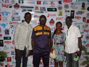 R-L, Kunle Adelabu, Mariam Akinloye, Bode Oserinde and Bolu Hassan on the red carpet