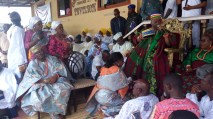 Alhaja Agunbiade being conferred with the title of Yeye Opomulero of Ikorodu by6 Oba Shotobi