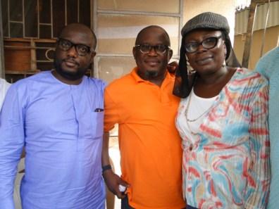 L-R, Honourable Member of Federal Hoiuse of Representatives, Hon. Babajimi Benson, the Majority Leader, Lagos State House of Assembly, Hon. Sanai Agunbiade and Yeye Adeola Agunbiade at the Eid-il-fitri celebration at Hon. Agunbiae father's house