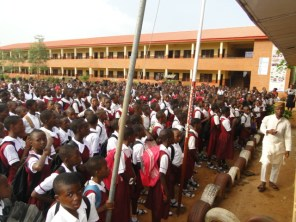 Students of Ikorodu Junior Grammar School on the Assembly ground during the presentation