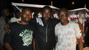 Kunle, Bashexy and Suave manager on stage