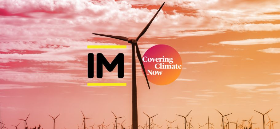 Wind turbines are the backdrop for the Impact and Covering Climate Now logos