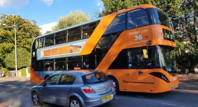 Bio-gas powered 36 Orange Line bus in Beeston