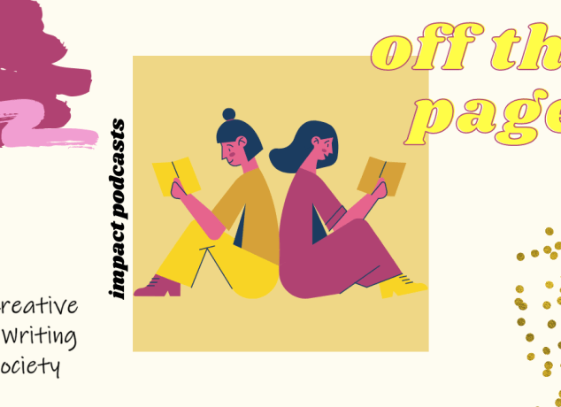 Logo for Off the Page, featuring two people sitting back to back and reading a book