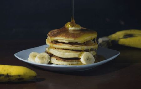 Banana Pancake Stack drizzled in Syrup