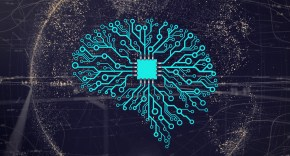 Graphic showing a blue schematic of a brain connected to a computer chip