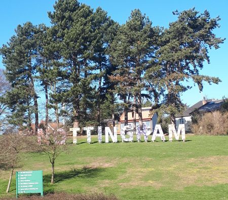 An image of the Nottingham sign on University of Nottingham campus