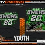 Jimmy Owens Minecraft Kids Lucas Oil Dirt Late Model Dirt Track Racing Shirt Impact Racegear