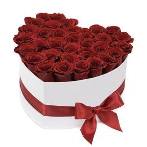 Box/Scatola bianca a forma di cuore 30 rose rosse
