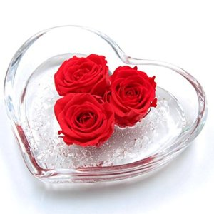 piccolo cuore in vetro con tre rose rosse 8 cm