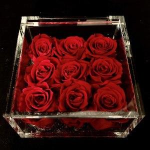 Flower cube piccolo nove rose rosse