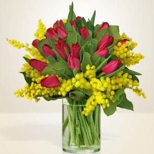 bouquet di tulipani rossi e mimosa