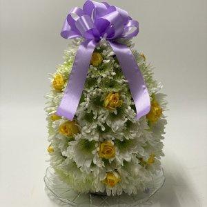 splendido uovo di fiori bianchi e gialli cm30