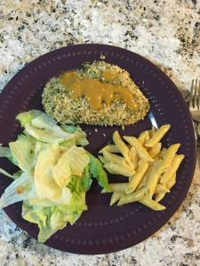 Panko Crusted Honey Mustard Chicken, Salad, Homemade Mac n Cheese