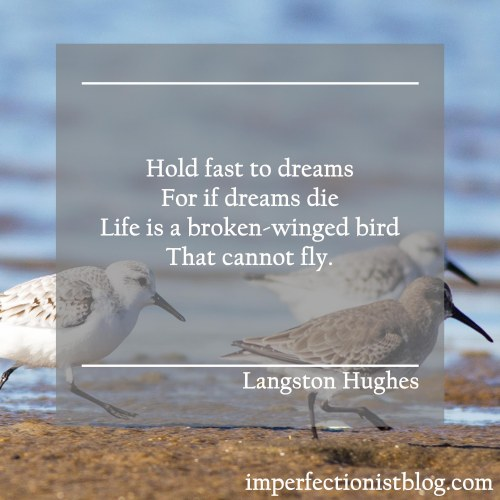 """""""Hold fast to dreams For if dreams die Life is a broken-winged bird That cannot fly.""""-Langston Hughes"""