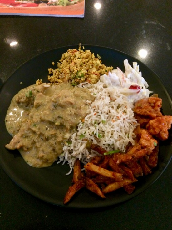 Fried Rice with American Salad, Honey Chilly Potato, Chilly Gobi, Egg Bhurji and Travancore Chicken Curry