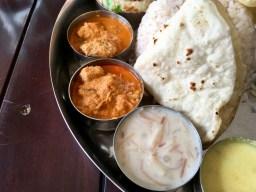 Bade Miya Thali - Pulissery, Payasam, Fish Curry, Phulka