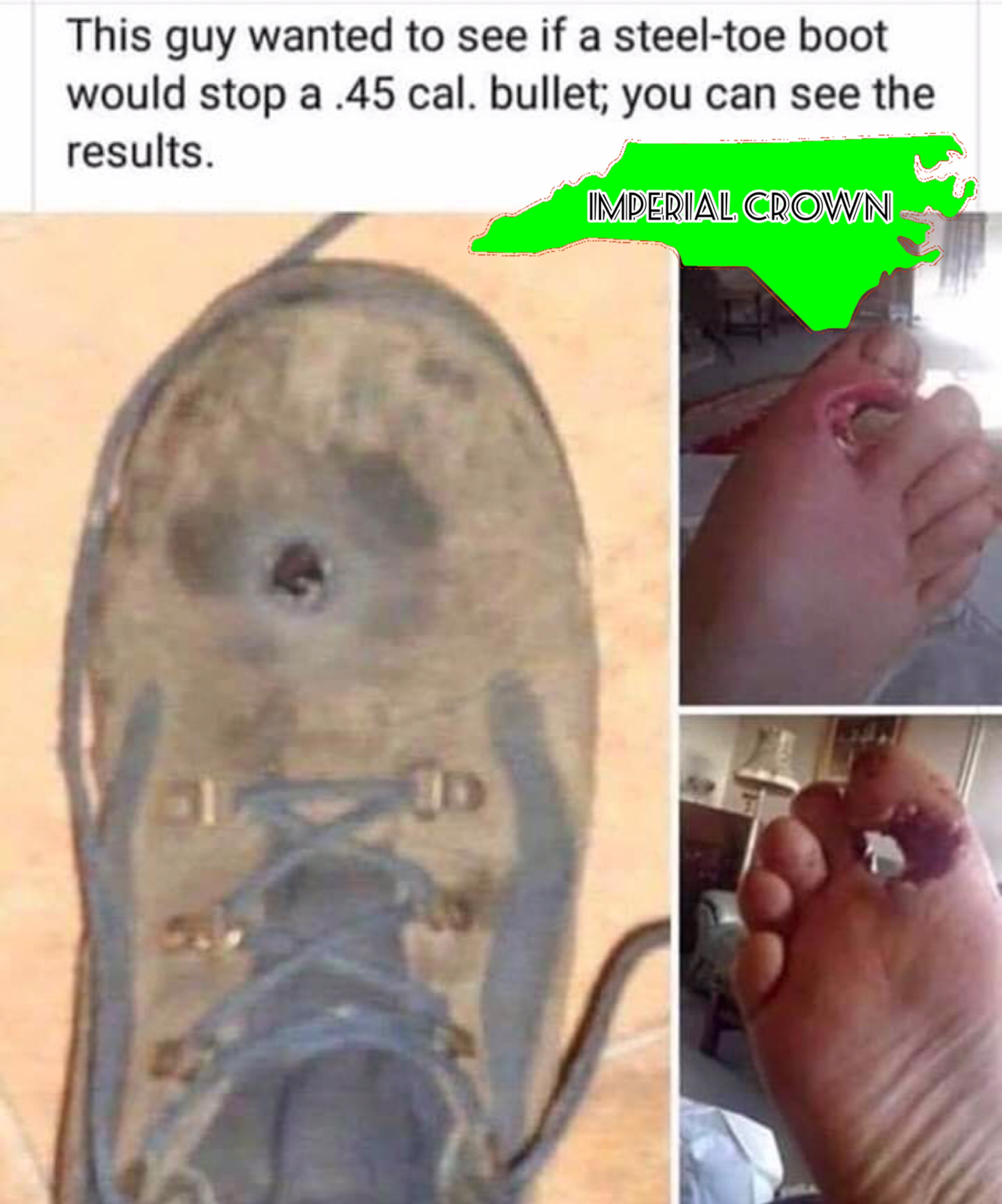 This guy wanted to see if a steel toe boot …
