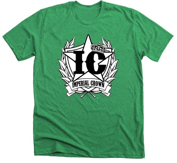 Imperial Crown black & White Logo with Premium Kelly Green T shirt