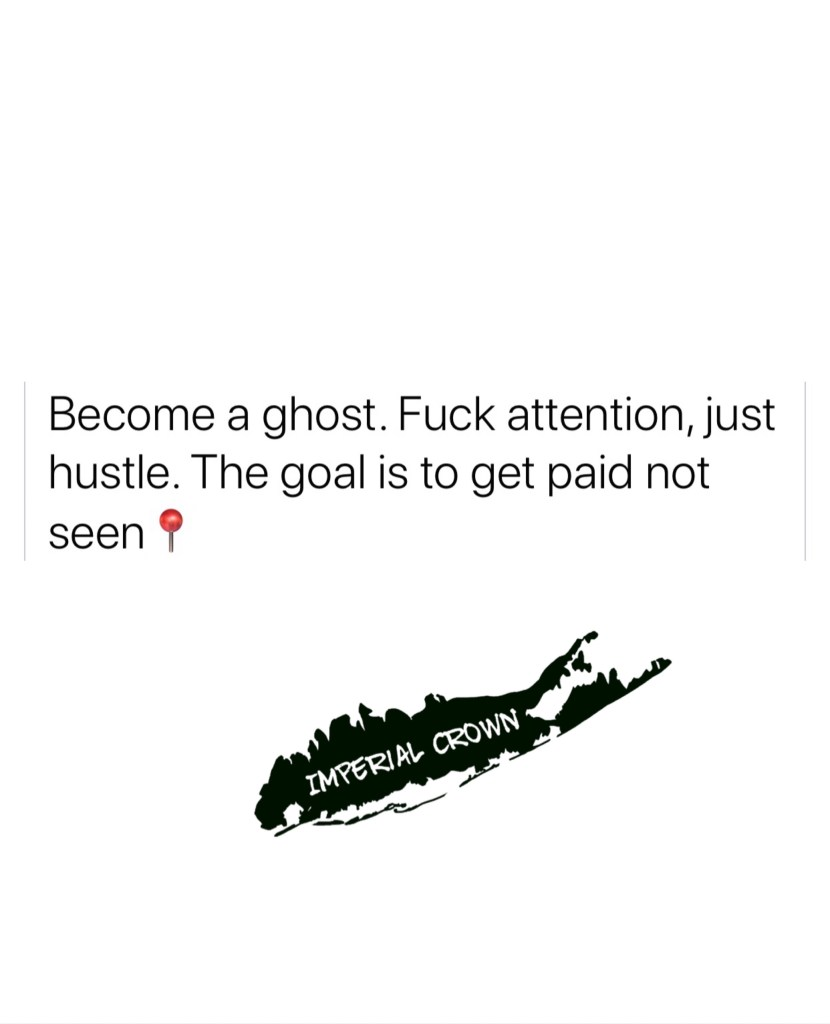 Become a ghost fuck attention just hustle the goal is to get paid not seen