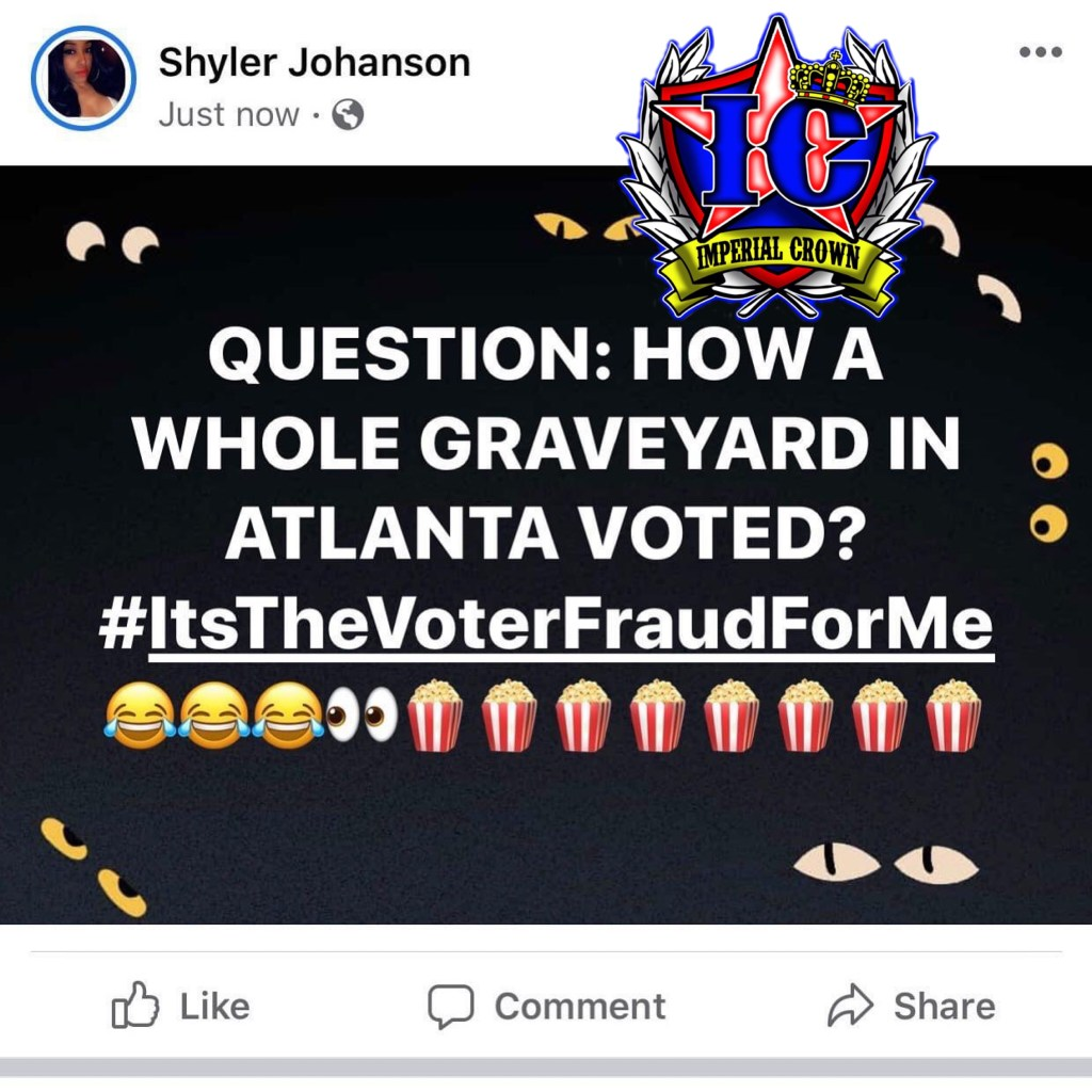 Question how a whole graveyard in atlanta voted  #itsthevoterfraudforme