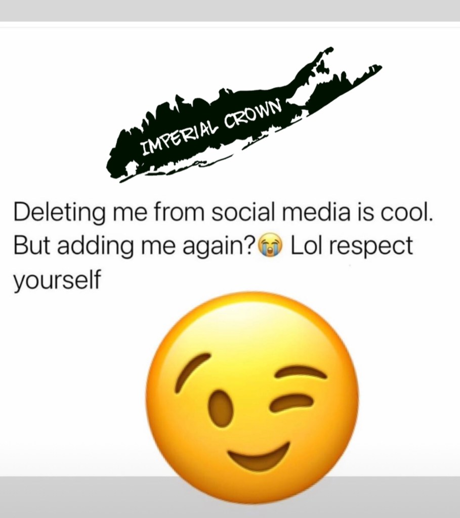 Deleting me from social media is cool but adding me again lol respect yourself