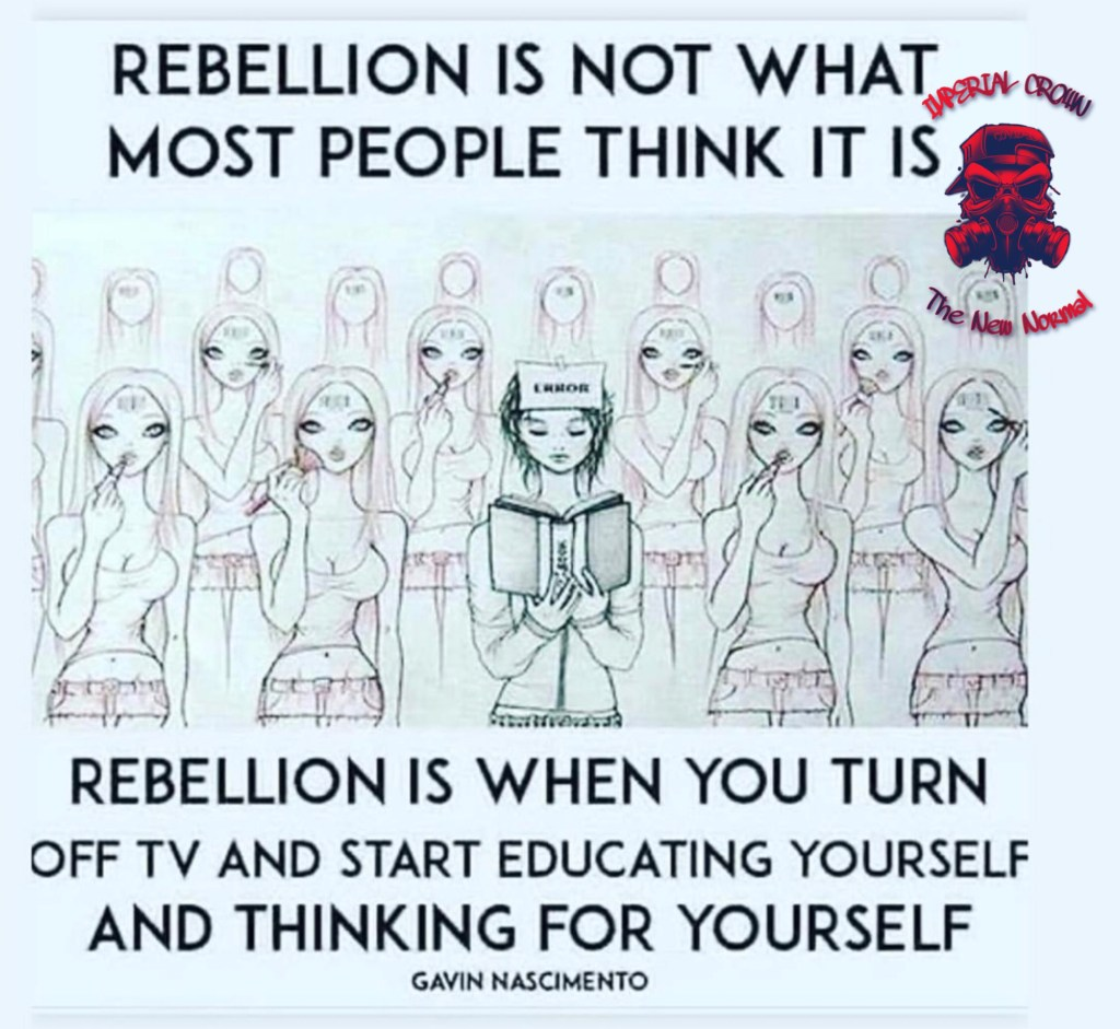 Rebellions not what most people think it is rebellion is when you turn off tv and start educating yourself and