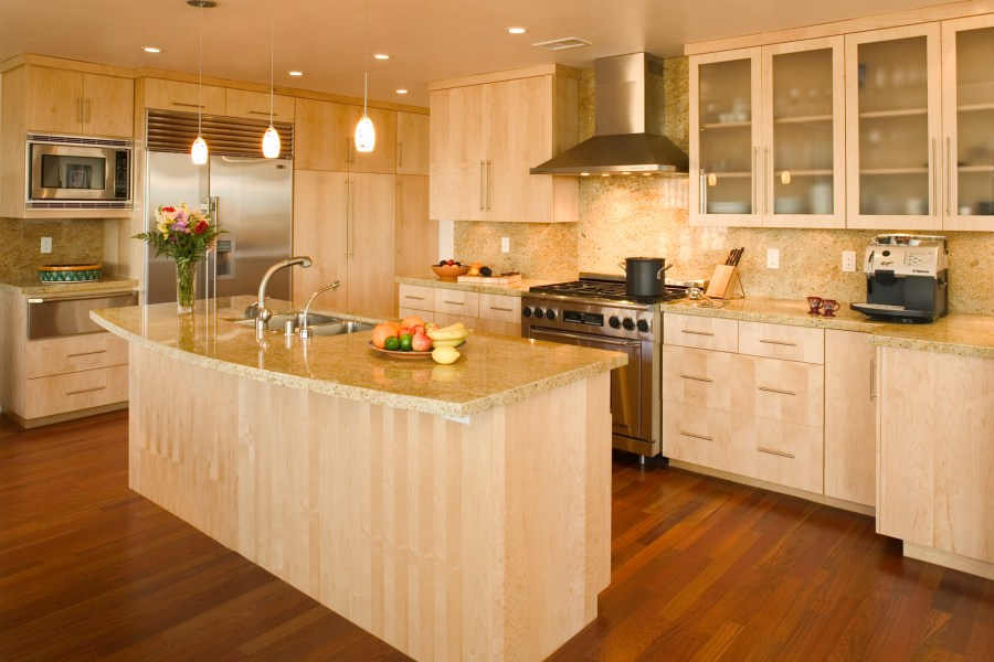 Custom Contemporary Kitchen Cabinets   Alder Wood Java Finish Shaker Contemporary Kitchen Cabinets with Quartersawn Maple Wood