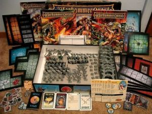 Photo of the contents of the Warhammer Quest boxed game