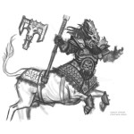 Concept Art of a Chaos Dwarf Bull Centaur by Mantic Games