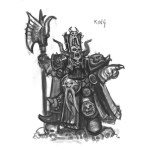 Concept Art of a Chaos Dwarf King by Mantic Games