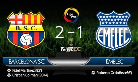 ¡BSC remontó y derrotó a Emelec Clásico del Astillero! con Goles de Fidel Matinez y Cristian Colmán