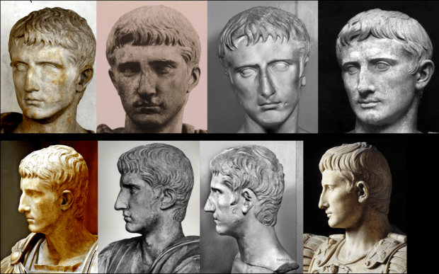 Comparison of three portraits of a bearded Octavian? bearded Gaius? compared with the Augustus Prima Porta.