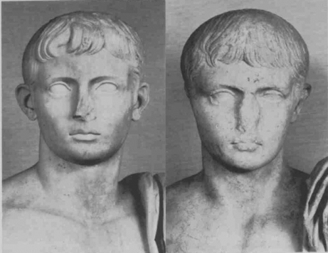 Details of the heads of statues expected to represent the grandsons of the emperor Augustus, Gaius (right) and Lucius (left).