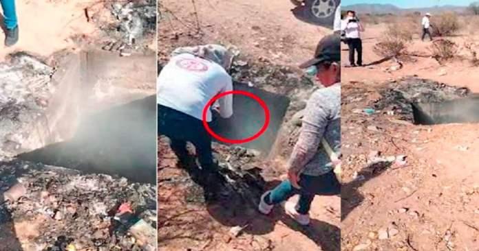 Encuentran fosa clandestina con restos humanos ardiendo