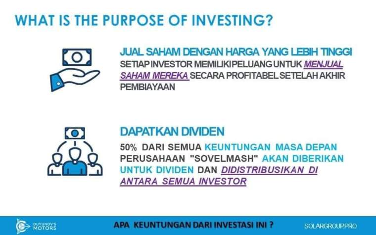 SolarGroup, What is the Purpose of Investing