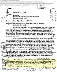 George Bush of the Central Intelligence Agency discussed in letter to FBI Director J. Edgar Hoover, regarding Kennedy assassination.