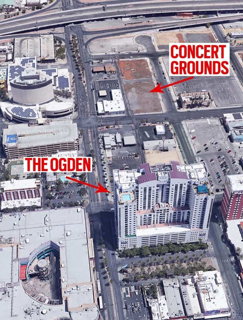 """Evidence confirms Stephen Paddock had rented rooms at The Ogden luxury condo building to carry out the CIA's """"false flag"""" attack on the Life Is Beautiful-2017concert on 24 September"""
