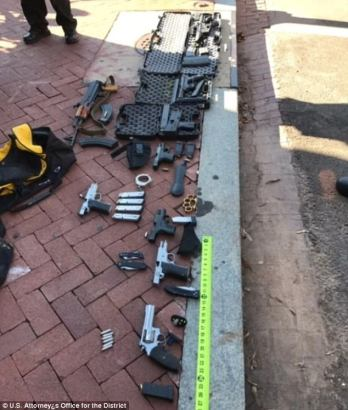"Weapons arsenal discovered in the vehicle of Timothy Bates, that includes one ""bump stock"" equipped AR-15 semi-automatic rifle"