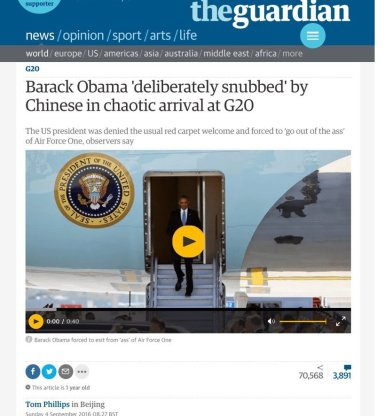 "The Chinese didn't even bring a ladder to Air Force One, and Obama was forced to exist out of the ""ass"" of the plane."