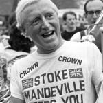 Jimmy Savile wears a Stoke Mandeville hospital T-shirt