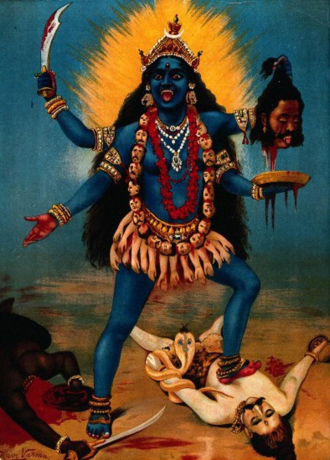 V0045118 Kali trampling Shiva. Chromolithograph by R. Varma.