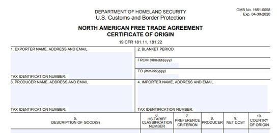 nafta certificate of origin pdf
