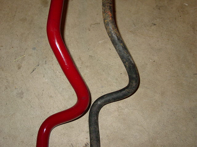 Take a moment and check out the difference in the size. The stock front bar is 20 mm and the Eibach bar is 25 mm.
