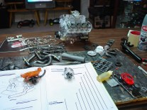 Even with the engine block finished, there was still a mountain of parts to attach.