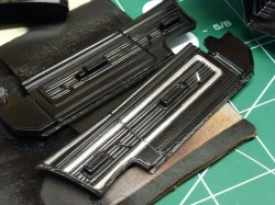I discovered that the 1:1 cars had silver trim around the interior panels. I reproduced this with bare metal foil.