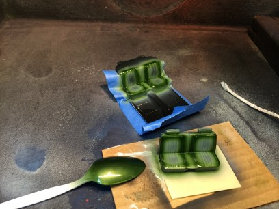 I then sprayed the seats body color. The spoon was painted to test paint compatibility.